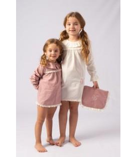 pijama corto en batista con tira bordada de algodón